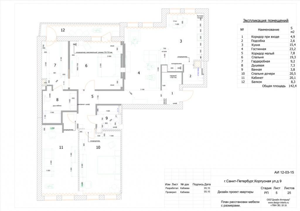 4.План расстановки мебели, бытовой техники.