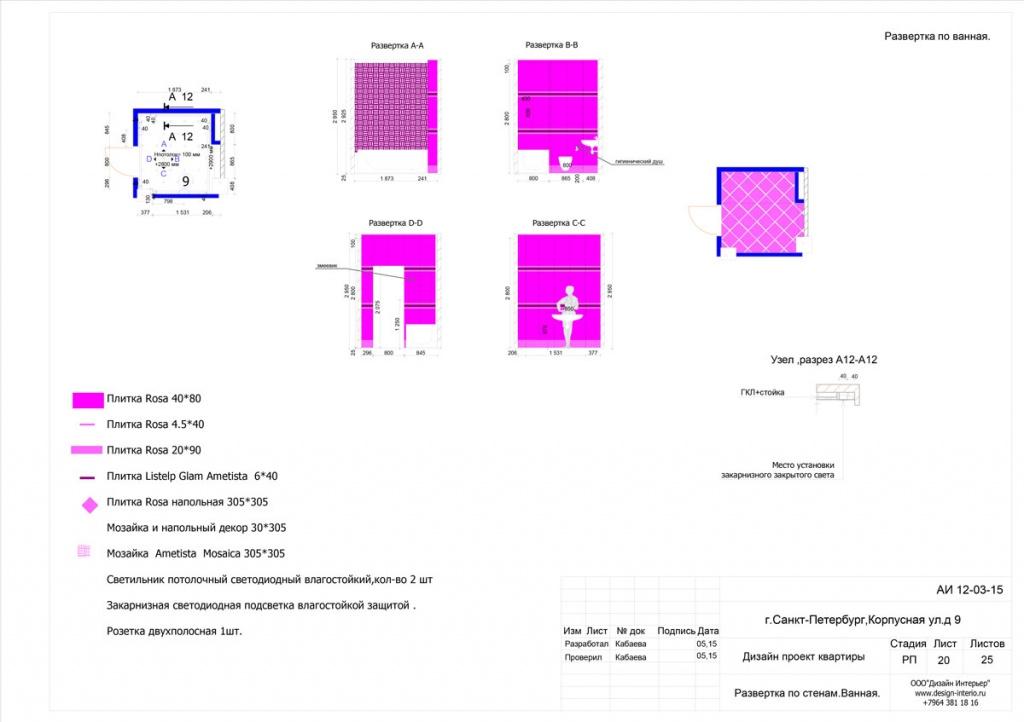 13. Развертка стен с указанием размеров. (приведен пример двух комнаты)
